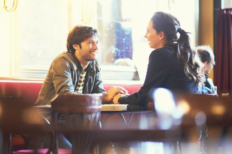 Romantic couple in French cafe
