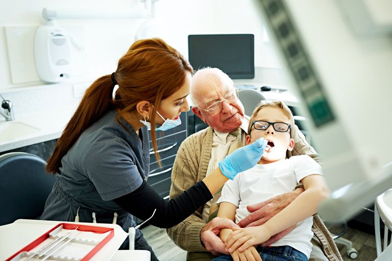 Little boy having oral checkup