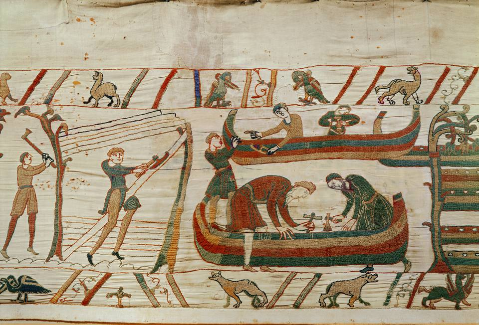 Building ships under the orders of Duke William, from the Bayeux Tapestry, before 1082