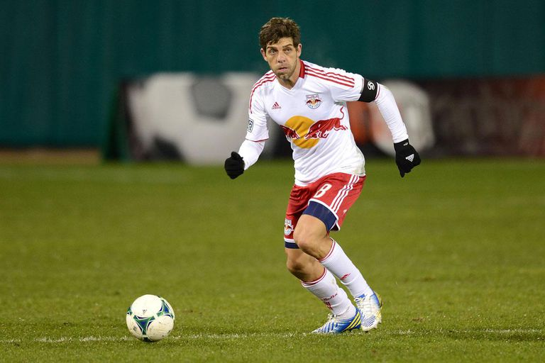 TUCSON, AZ - FEBRUARY 20: Juninho #8 of the New York Red Bulls brings the ball up field against the Seattle Sounders at Kino Sports Complex on February 20, 2013 in Tucson, Arizona.