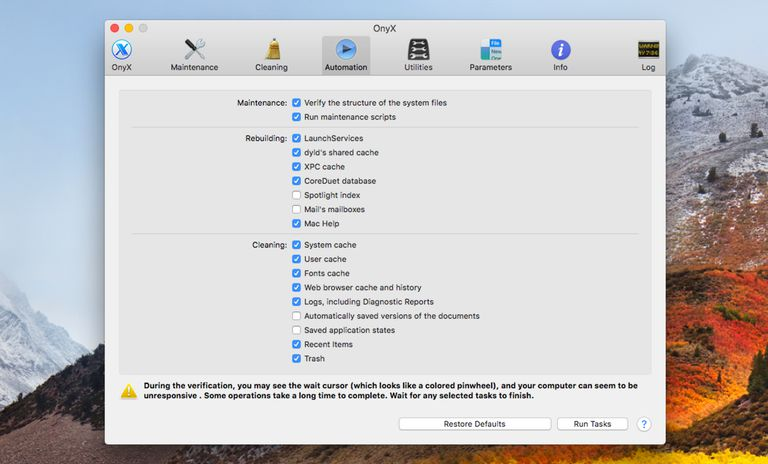 Onyx system utility for the Mac
