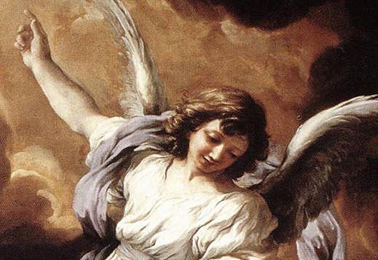 Detalle del Ángel de la Guarda por Pietro da Cortona