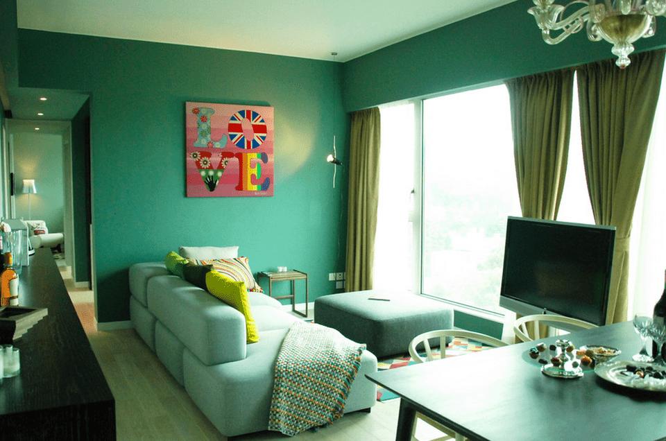 Green Condo Living Room