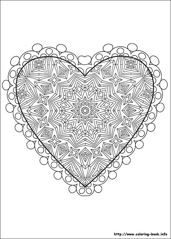 an intricate valentines day coloring page