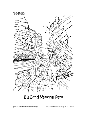 texas coloring page big bend national park