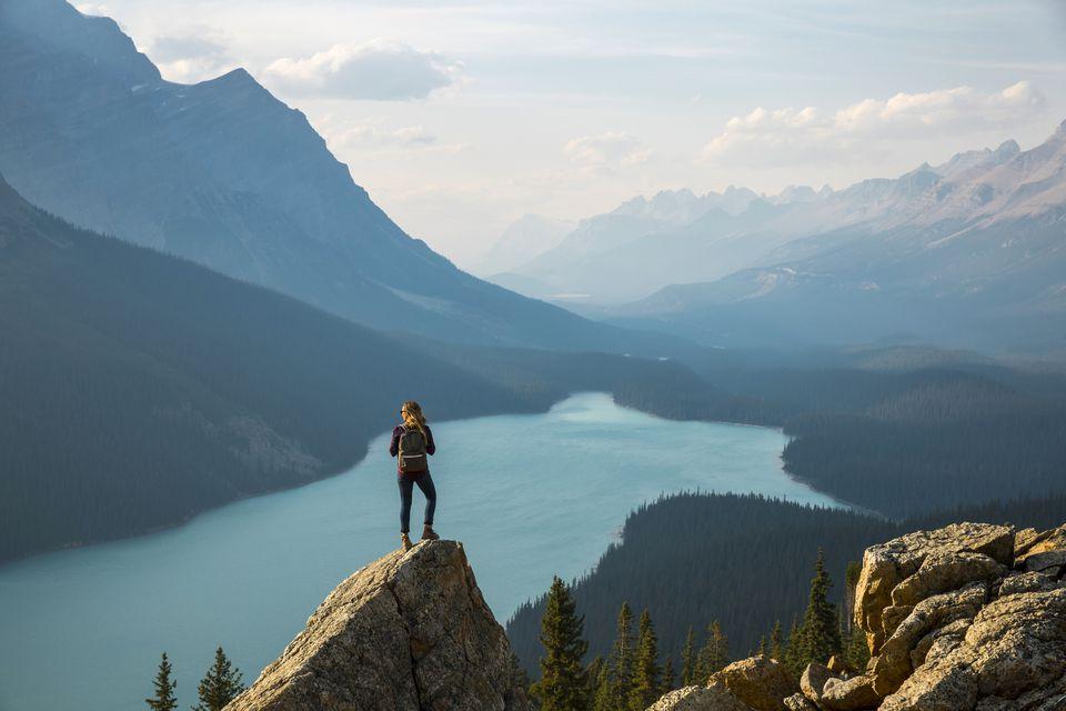Hiking above a lake
