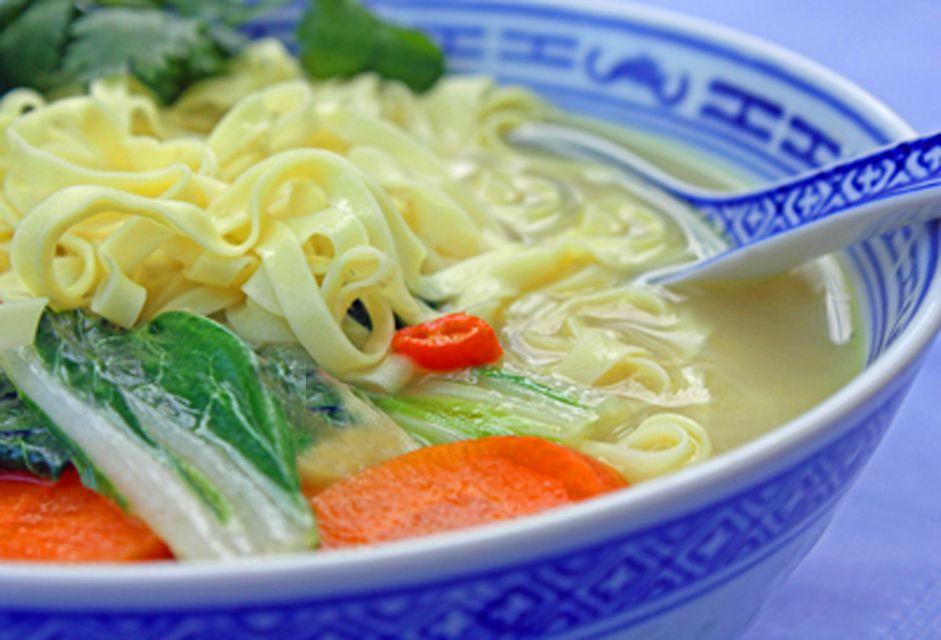 Thai Vegetable Coconut Soup with Noodles (Vegan)