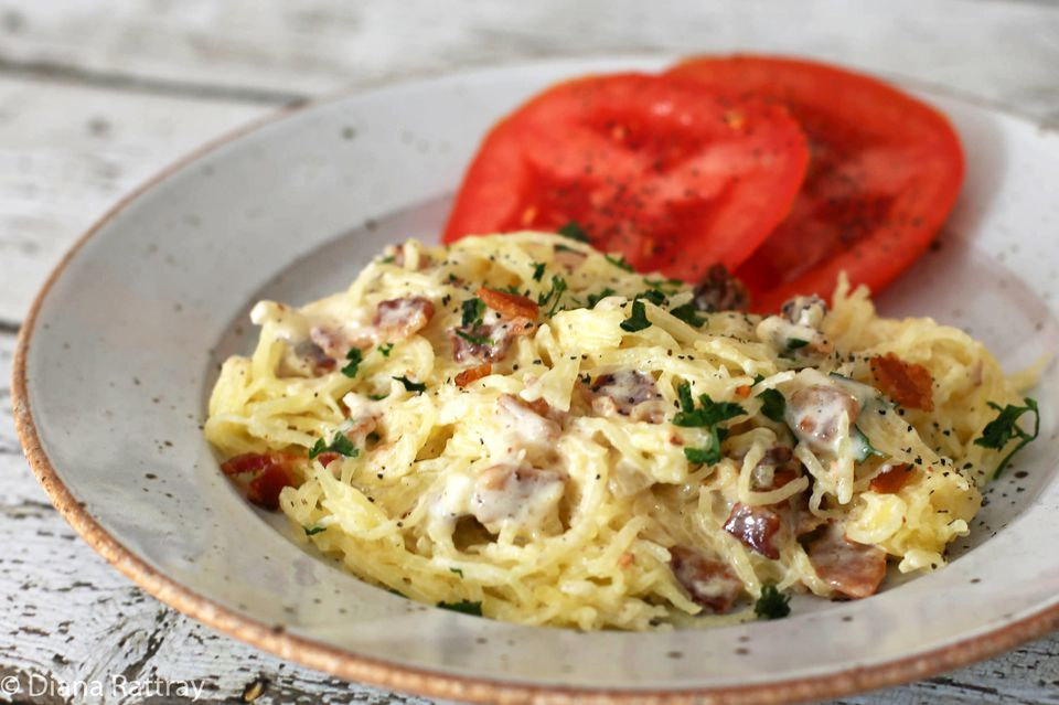 Spaghetti Squash With Bacon Cream Sauce
