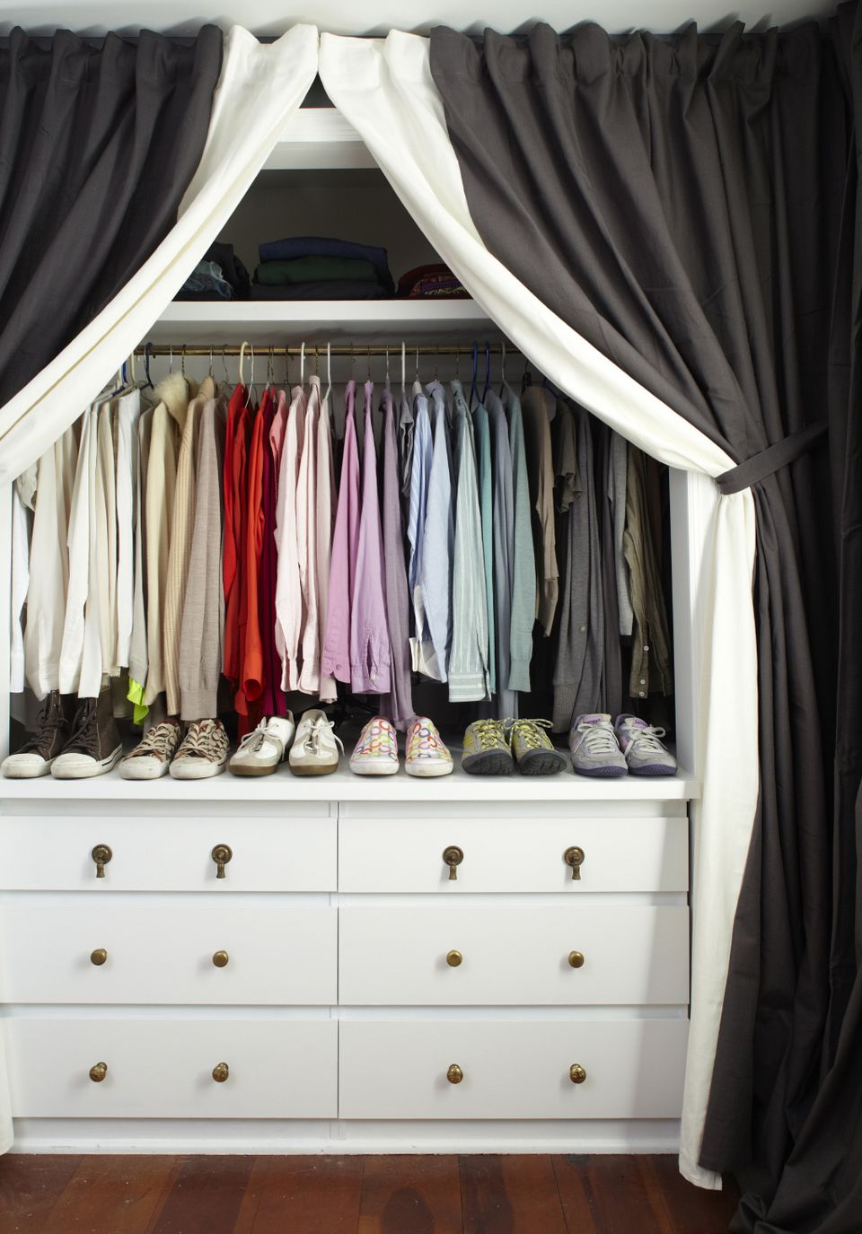 Use A Curtain To Contain Clothes Storage