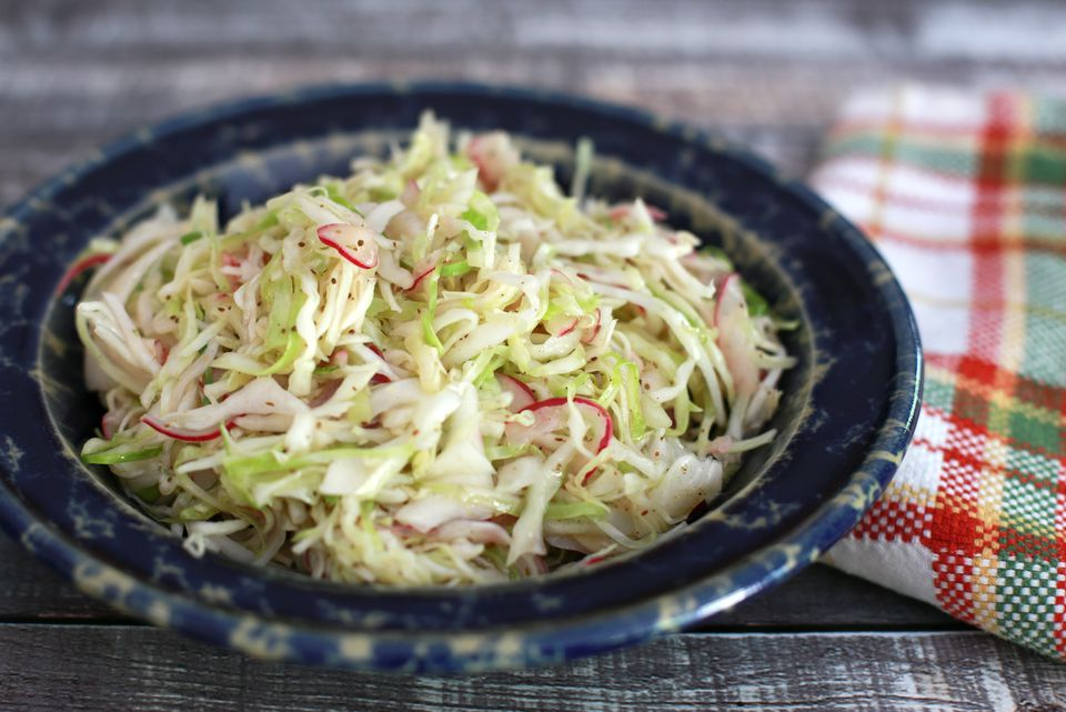 Tangy Coleslaw With Hot Vinegar Dressing