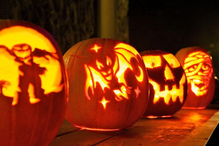 Jack-O-Lanterns carved for Halloween