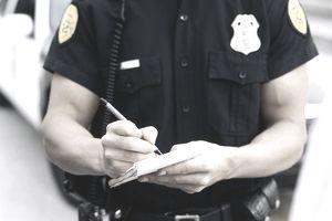 Policeman taking notes