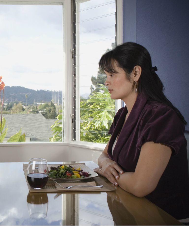 Woman alone at dining table