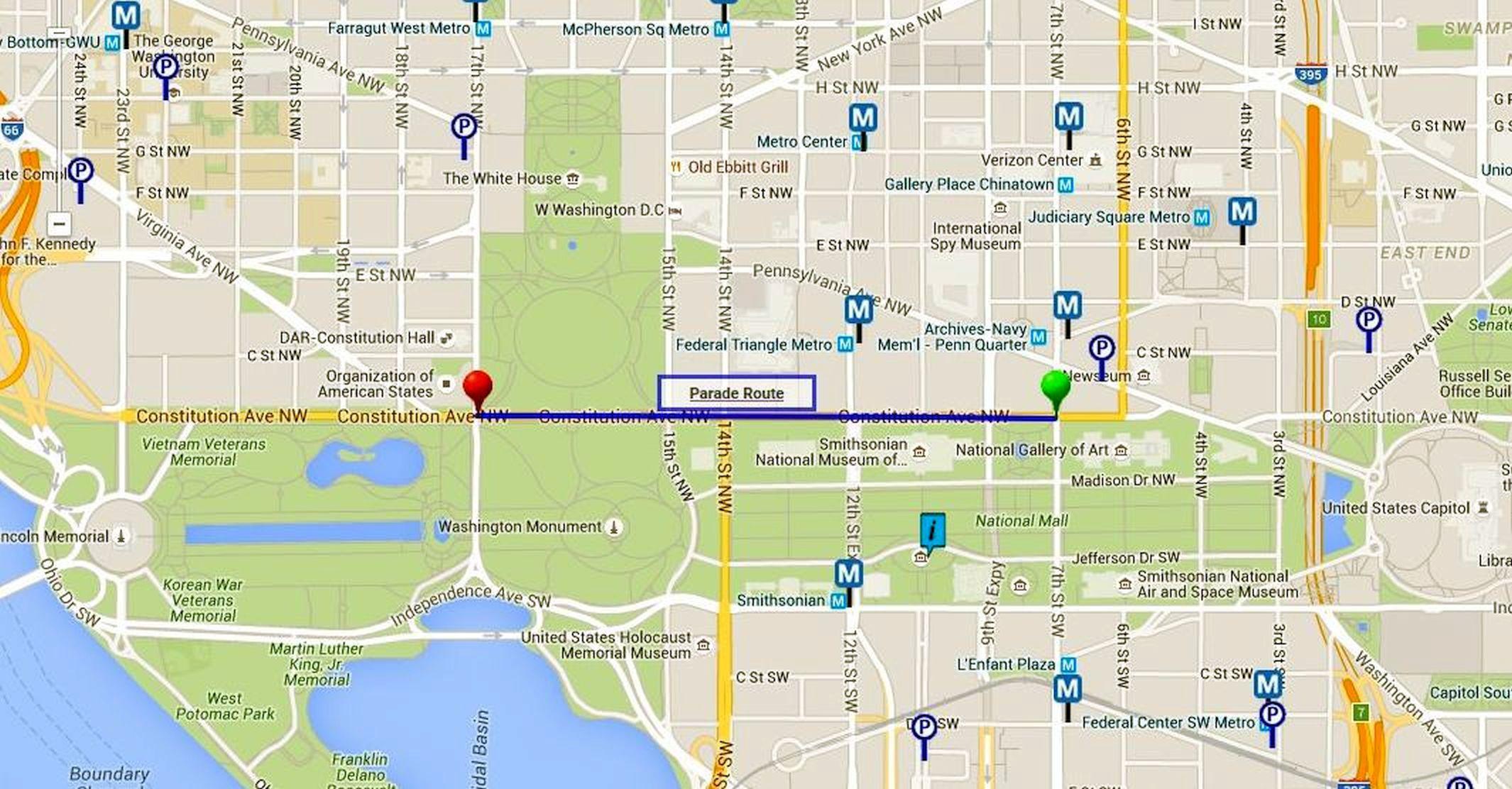 Washington, DC Memorial Day Parade Route Map