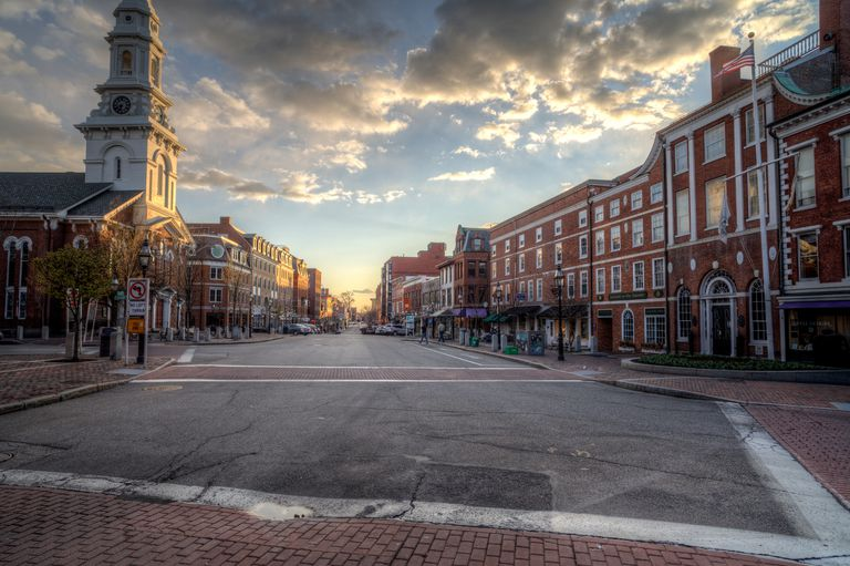 Afternoon sunlight shines on North Church on Congress Street in downtown Portsmouth, New Hampshire.