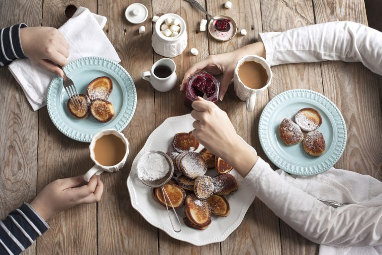 Breakfast with pancakes and hot chocolate