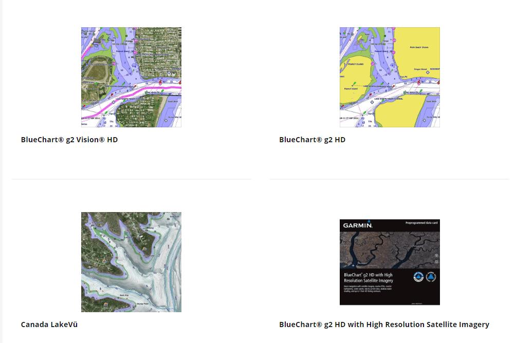 Screenshot of the Garmin marine charts download page