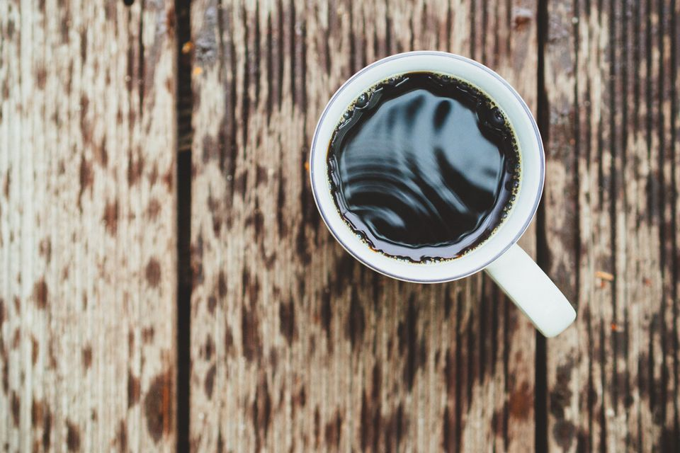 A mug of black coffee
