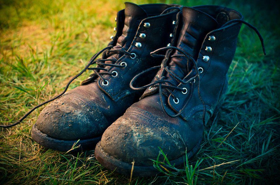 Pair of boots mildew