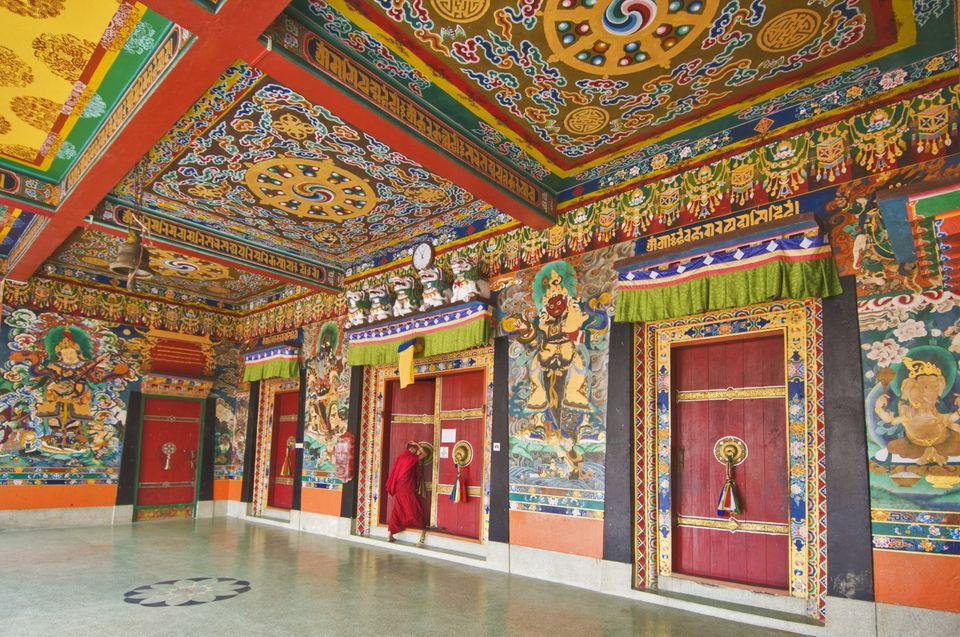 Main temple inside Rumtek Monastery.