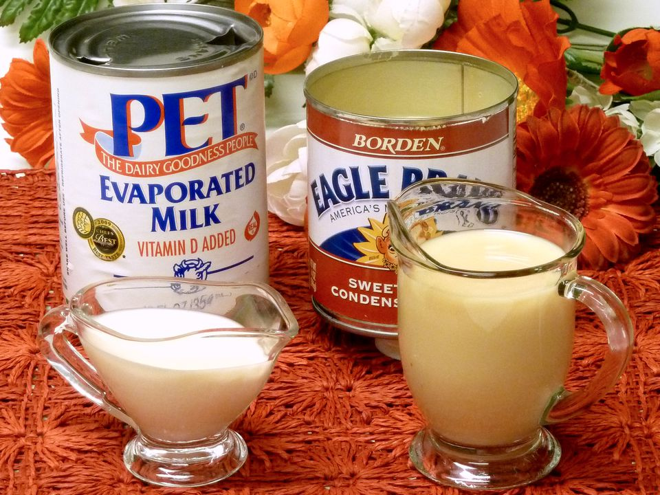 evaporated milk, sweetened condensed milk, history, canned, can, recipes, receipts