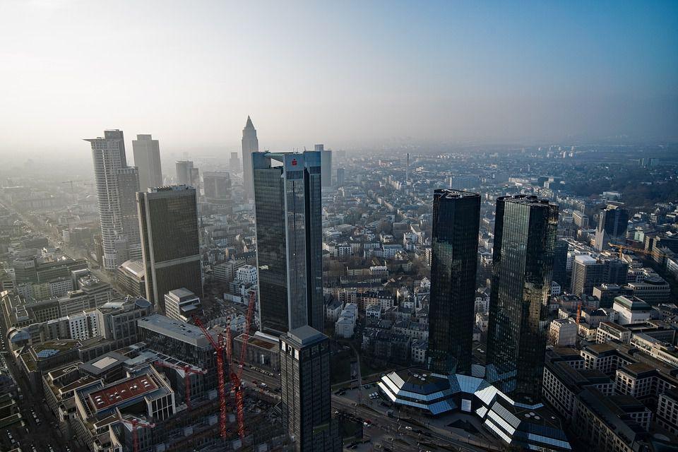 Aerial View Frankfurt Hesse Main Tower Germany