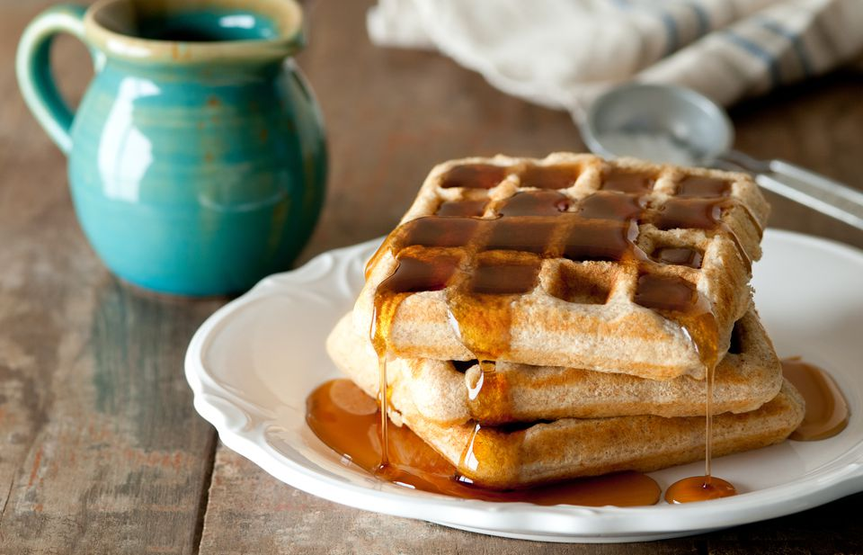 Whole Wheat Waffles with Syrup