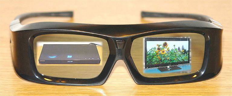 3D Glasses with Sights on a 3D Blu-ray Disc Player and 3D TV