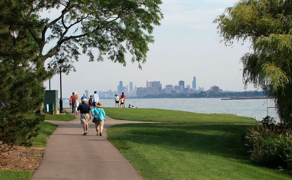 The Chicago skyline, as seen from the lakefill at Northwestern University.