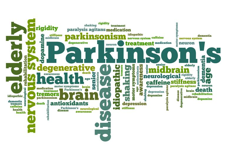 page with Parkinson disease written with other words such as dopamine