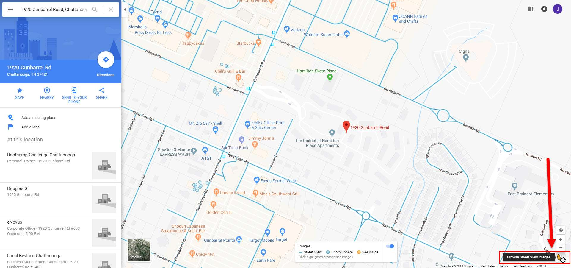 Screenshot of Google Maps indicating Pegman in the bottom right corner of the screen