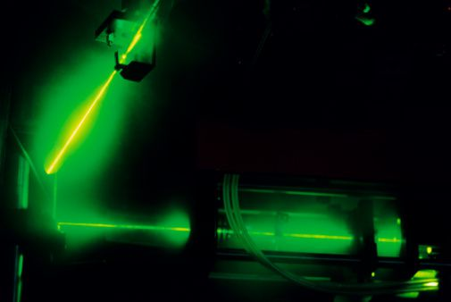 Argon laser emitting gases in test laboratory
