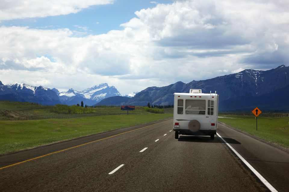 RV driving down highway