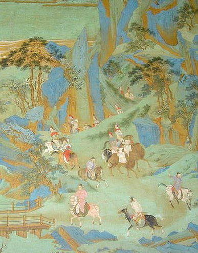 Emperor Xuanzong flees his capital during the An Lushan or An Shi Rebellion, 755-763
