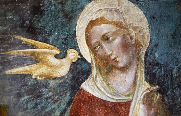 Dove of Holy Spirit and the Virgin, detail of fresco from Civic Art Gallery of Recanati, Marche, Italy