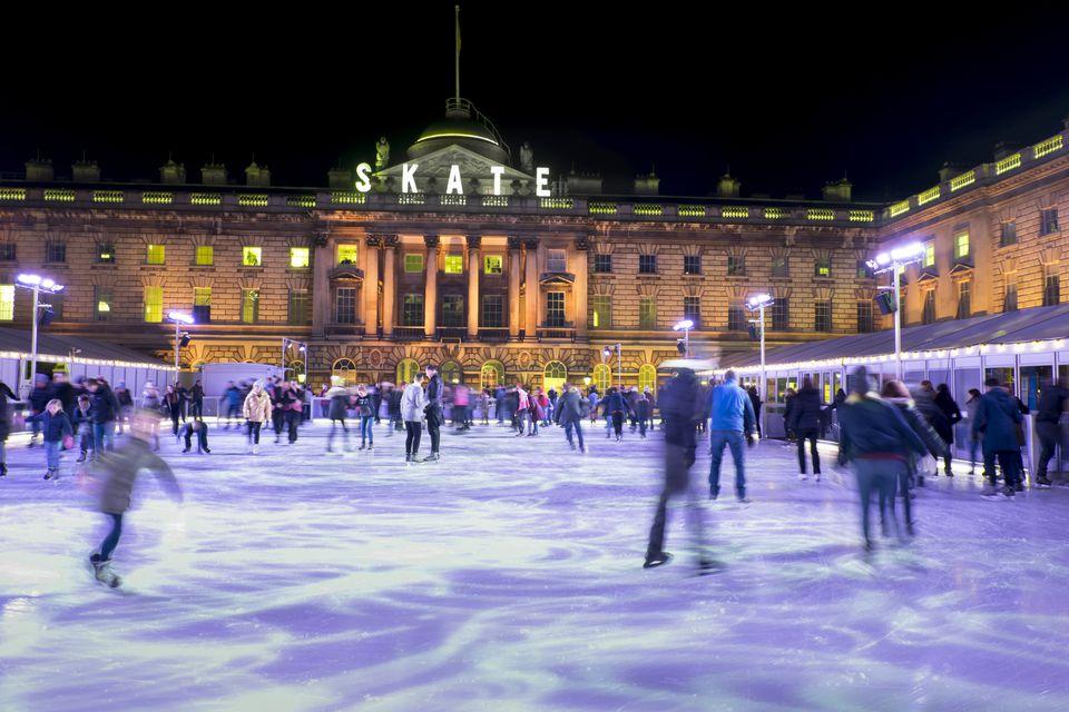 Ice skating, Somerset House, London, England, United Kingdom, Europe