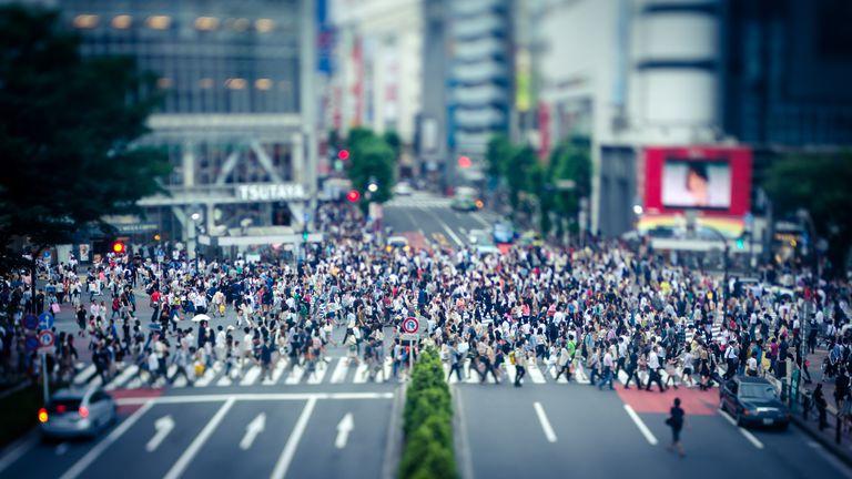 People crossing the Shibuya Intersection