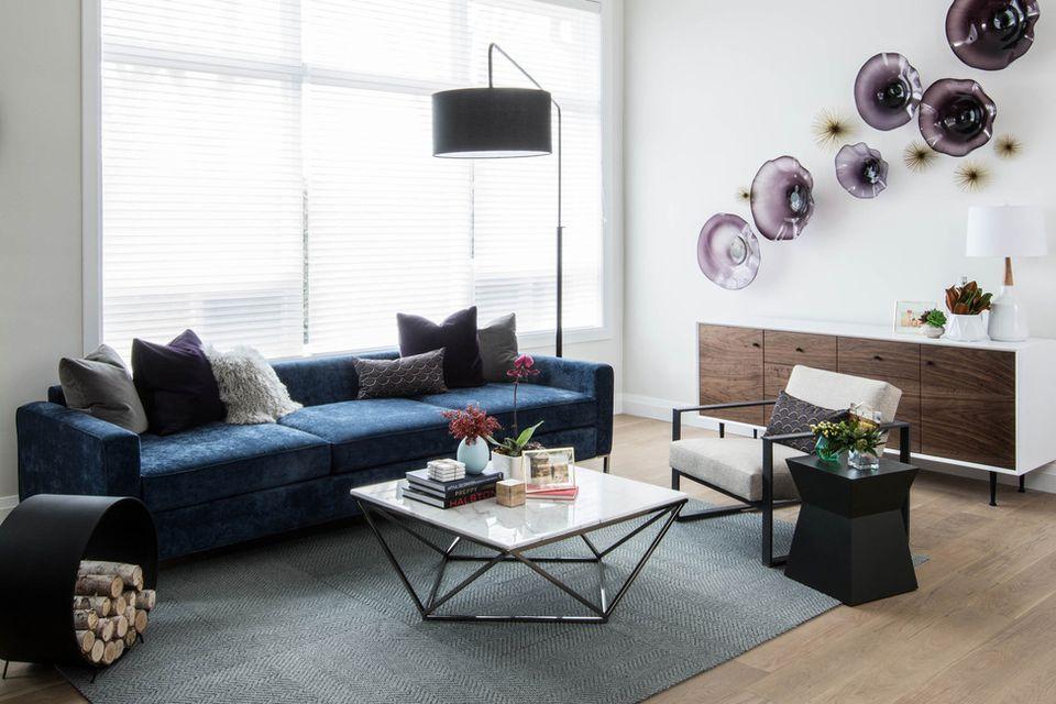 purple glass art on wall