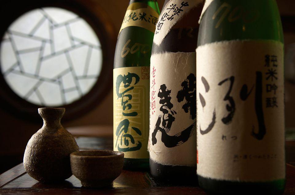 Sake Bottles on a Table