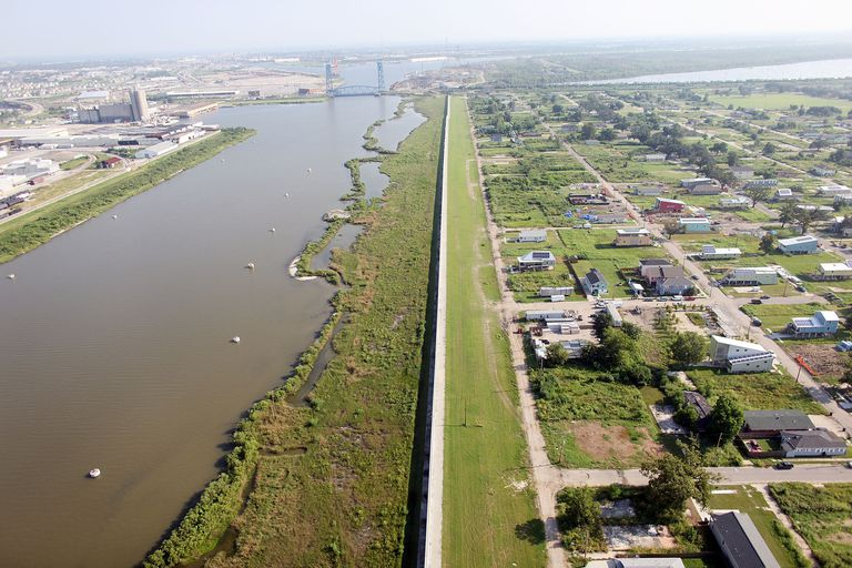 Overhead photo of repaired levee wall along the Lower Ninth Ward in New Orleans, 2010