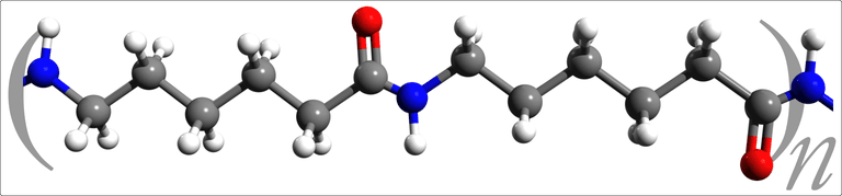 This is the three-dimensional molecular structure of nylon 6.