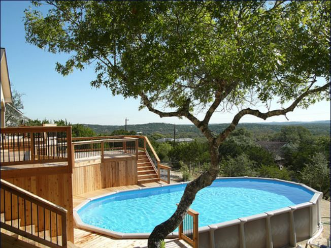 above ground pool in the hills of san antonio