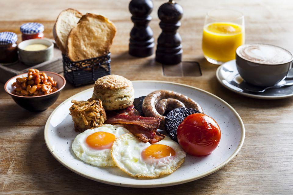 Full English breakfast at Duck & Waffle