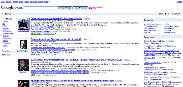 Google Blog Search Home Page