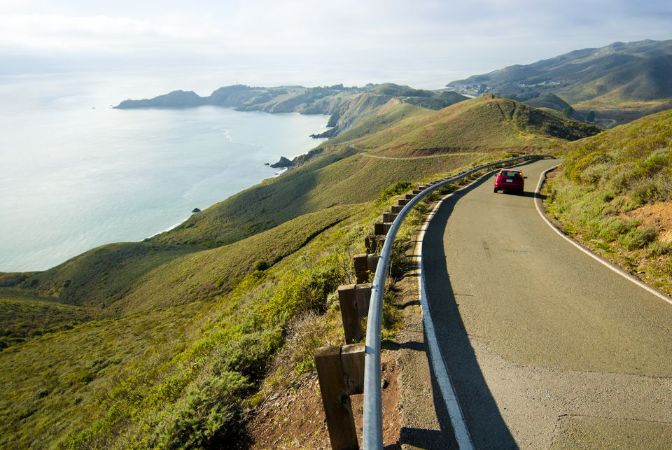 A car descends Conzelman Road in the Marin Headlands north of San Francisco, California.