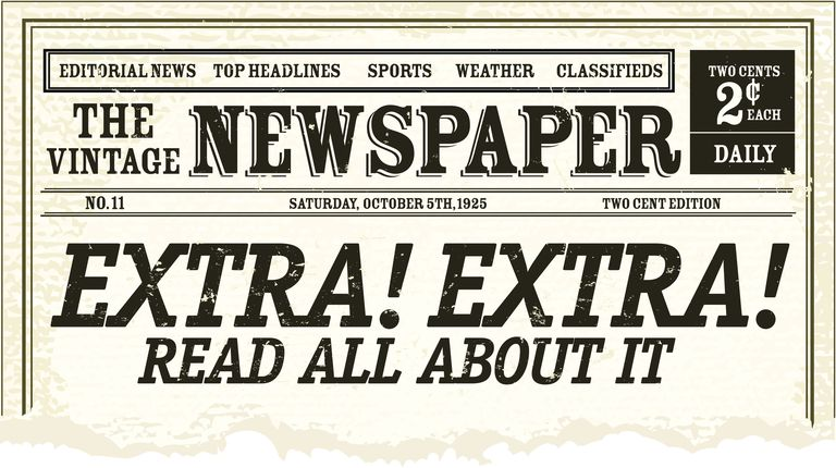 Illustration of a front page of an old newspaper