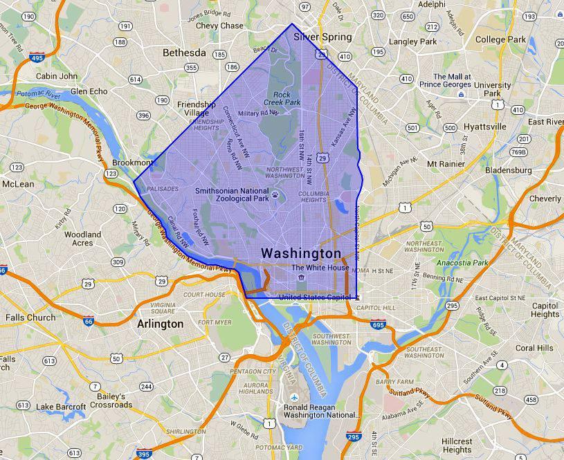 NW Washington DC Map