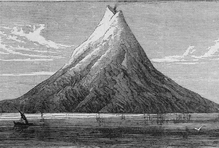 Illustration of volcanic island Krakatoa