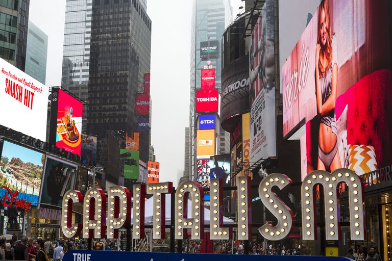 Capitalism sign in Time's Square NYC