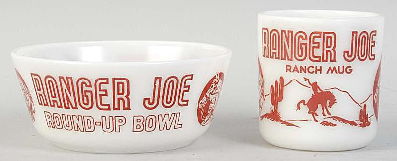 Ranger Joe Ranch Mug and Ranger Joe Round-Up Bowl in milk glass with red lettering
